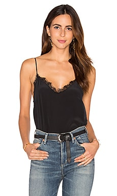 Silk Camisole with Lace Details in Black