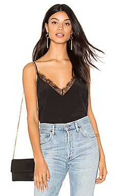 Deep V Silk Cami in Black