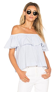 Striped Off The Shoulder Top in Light Blue