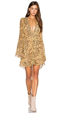 Deep V Dress in Gold Snake