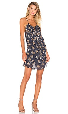 ANIMALE Tie Waist Dress in Navy Jaguar