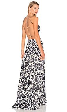 ANIMALE Open Back Maxi Dress in Off Wings Print