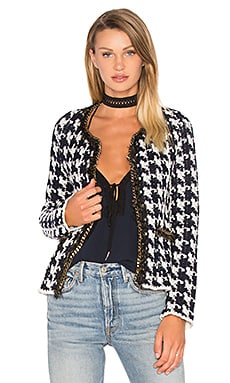 Houndstooth Chain Sweater Jacket in Off White