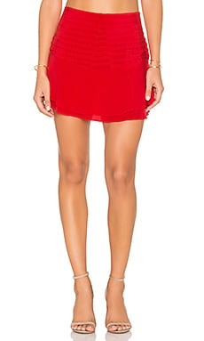 Ruffle Mini Skirt en Rouge