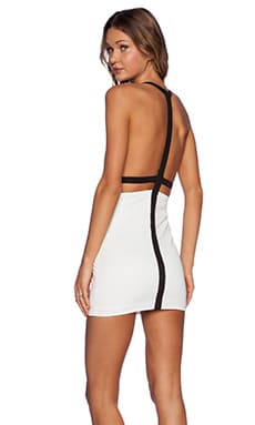 AQ/AQ Dion Mini Dress in Black & Cream