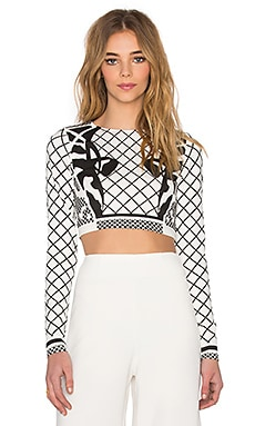 AQ/AQ Deity Crop Top in Cream Deity Print
