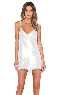 ARE YOU AM I Zillah Raw Edge Slip Dress in Silver
