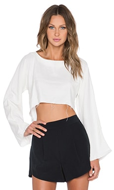 ARE YOU AM I Delphine Raw Edge Crop Top in Sand Wash White