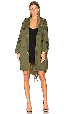 Military Vintage Patch Parka in Army Green