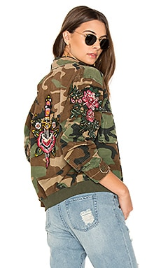 Embroidered Bomber in Army