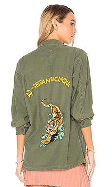 Military Vintage Tiger Shirt in Army Green