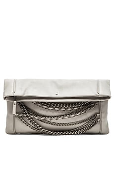 Ash Domino Clutch in Stone Grey & Silver