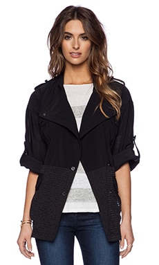 ashley B Mesh Sheer Plaid Jacket in Black