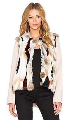 ashley B Rabbit Fur Patchwork Jacket in Multi & Beige