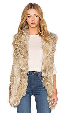 ashley B Knitted Coyote Fur Vest in Natural