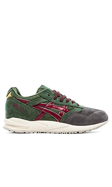 Asics Gel Saga Christmas Tree in Dark Green & Burgundy