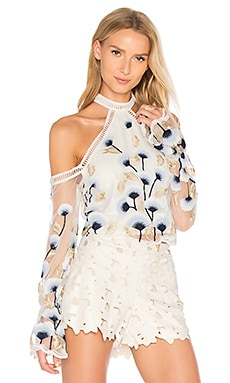 Swan Lake Top in White, Navy & Gold