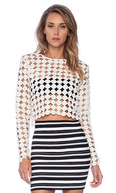 ASILIO Fake Diamonds Crop Top in White