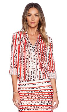 ASILIO The Benefactor Blouse in Red Leopard Stripe