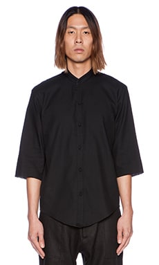 Assembly New York No Collar Shirt in Black