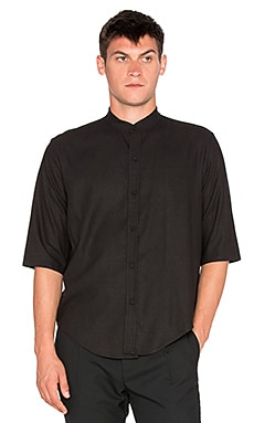 Assembly New York Raw Silk Noncollar Shirt in Black