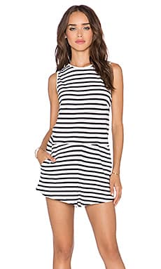 Assembly Label Stripe Romper in White & Navy