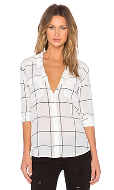 Assembly Label Capri Check Silk Button Down in White
