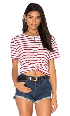 Red Stripe Tee en Blanc & Rouge