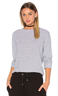 Save Stripe Long Sleeve Tee in Navy & White
