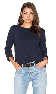Bay Linen Long Sleeve Tee in Navy