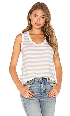 Coastal Linen Tank in Coffee Stripe