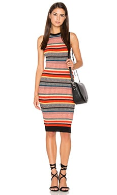 Barcelona Dress en Orange Multi Stripe