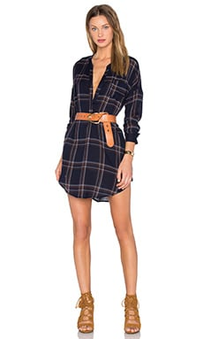 ASTR Gertrude Dress in Navy Plaid