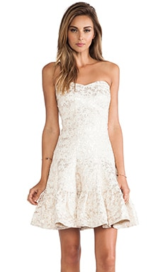 Anna Sui Metallic Daisy Jacquard Strapless Dress in Cream Multi