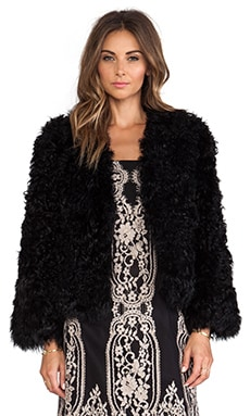 Anna Sui Kalgan Lamb Fur Jacket in Black
