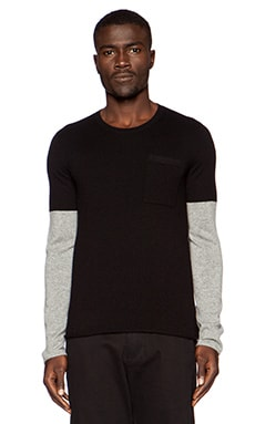 ATM Anthony Thomas Melillo Cashmere Fake Tee Popover Sweater in Black & Heather