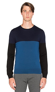 ATM Anthony Thomas Melillo Color Block Merino Crew in Navy Combo