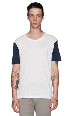ATM Anthony Thomas Melillo Slub & Modal Tee in White & Navy