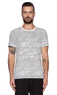 ATM Anthony Thomas Melillo Classic Crew w/ Broken Stripe in White& Black