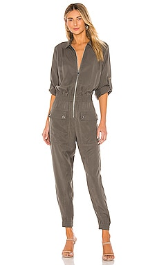 Washed Silk Long Sleeve Utility Jumpsuit ATM Anthony Thomas Melillo $297
