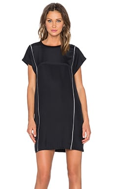 ATM Anthony Thomas Melillo Piped Silk T Shirt Dress in Black & Snow Combo