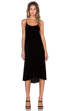ATM Anthony Thomas Melillo Crushed Velvet Slip Dress in Black