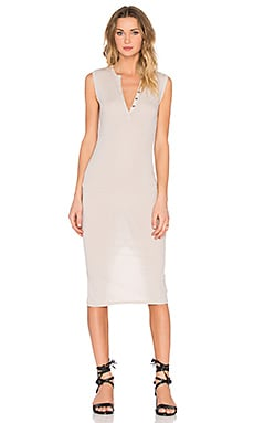 Sleeveless Henley Midi Dress in Rafia