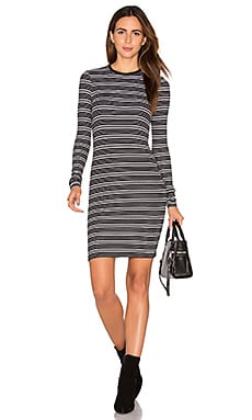 Stripe Long Sleeve Dress en Rayé Noir & Blanc