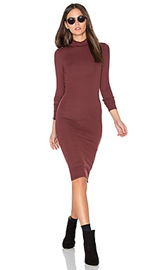 Long Sleeve Mock Neck Dress en Rust