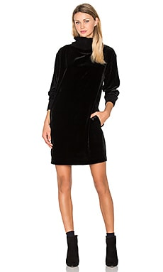 Mock Neck Drappy Velvet Dress