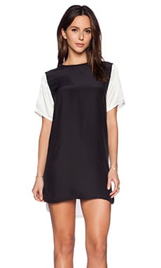 ATM Anthony Thomas Melillo Silk Tee Dress with Contrasting Sleeve in Black & White