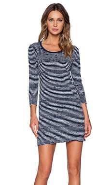 ATM Anthony Thomas Melillo 3/4 Sleeve Printed Stripe Dress in Navy & Chalk Stripe