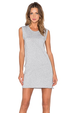 ATM Anthony Thomas Melillo Crew Neck Pocket Dress in Heather Gray