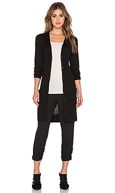 ATM Anthony Thomas Melillo Engineered Rib Long Cardigan in Black